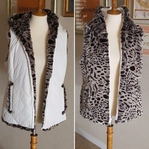 Vintage - Snow Lepoard Reversible Vest